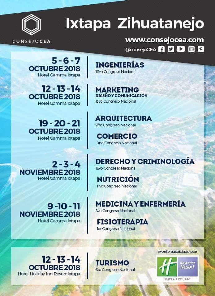 Calendario Ixtapa 2018