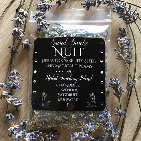 Nuit herbal smoking blend/incense for serenity, sleep, and magical