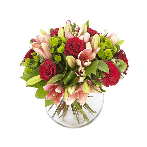 Lily and Red Rose Arrangement