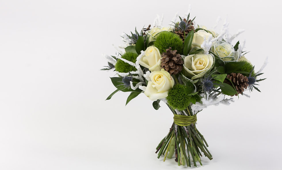 White Rose & Thistle Holiday Bouquet