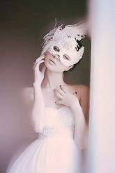 White Swan Venetian Style Lace Mask