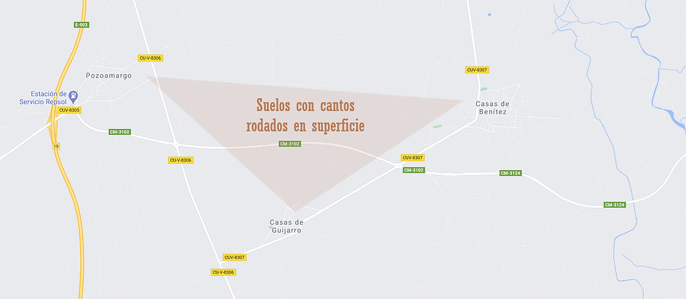 Mapa de la parcela de cantos rodados donde se cultiva vino tinto Mikaela