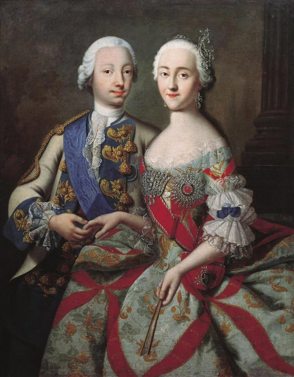 Pedro III (Fiódorovich) y Catalina la Grande. Cuadro de Georg Cristoph Grooth en el Odessa Art Museum