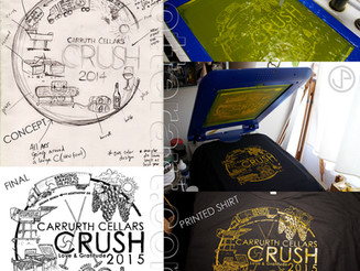 Created New T-shirt art & print for Carruth Cellars Crush 2015 in Solana Beach, CA.
