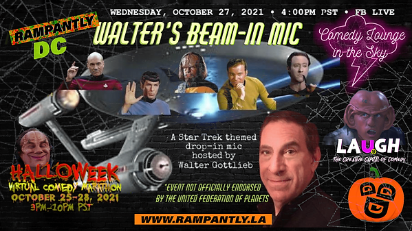 Walter's beam In Mic Star Trek logos Halloweek 2021 Virtual Comedy Marathon Banner Rampant