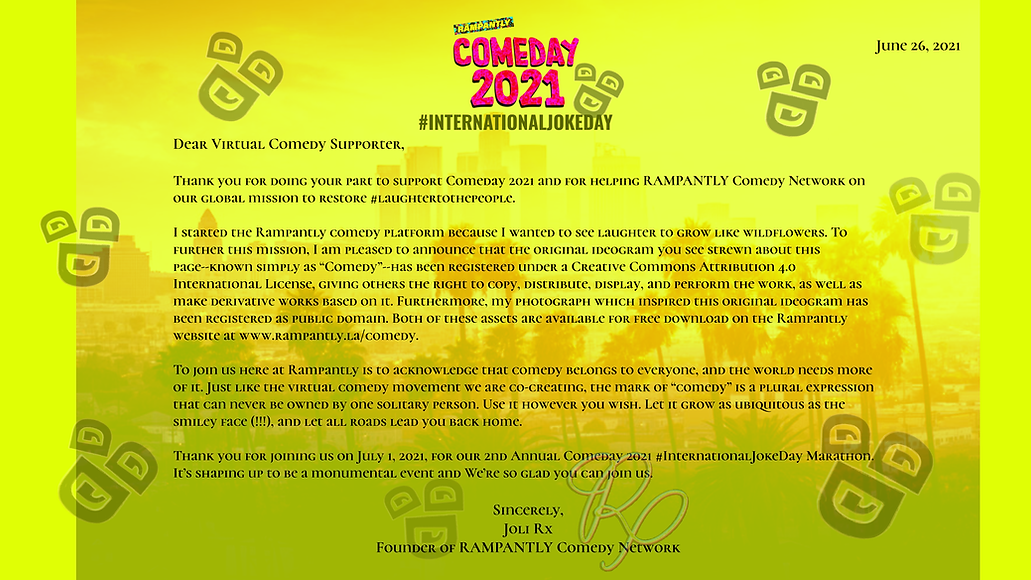 Comeday 2021 Letter from Joli Rx - Rampa