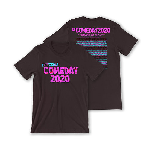 RAMPANTLY Comeday 2020 T-shirt. Magenta and turquoise ink on Oxblood Black cotton.