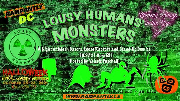 Lousy Humans' Monsters Rampantly DC Val Paschall logos Halloweek 2021 Virtual Comedy Marat