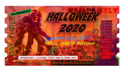 """HALLOWEEK 2020 Comedy Marathon is coming! October 26-29, 2020! Four nights of LIVE virtual stand-up, sketches, roasts, costume contests, spoofs, parodies, and more! Join us in the RAMPANTLY Zoom Room and """"get on grid"""" with us for this special, First Annual event! 🦇"""
