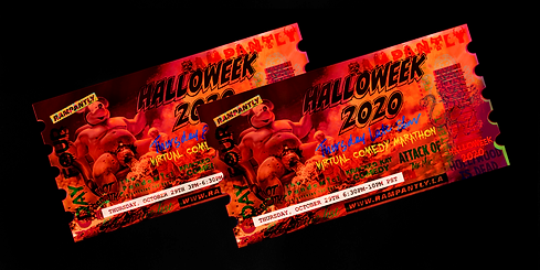 """WARNING: KILLER COMEDY SHOW AHEAD! The PandeMic! """"Frightening the Curve"""", Attack of the Mic!, Hot Breath! Write Ten Club, Kracked Kat's Pet Costume Contest, and more!  Hosted by Hedi Sandberg, Trevor Gertonson, Joli Rx, and Aaron Ring. 🦇"""