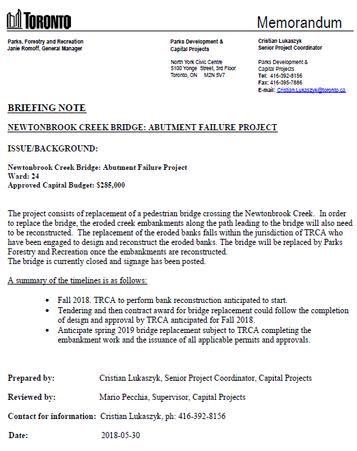 Newtonbrook Creek Bridge Repairs