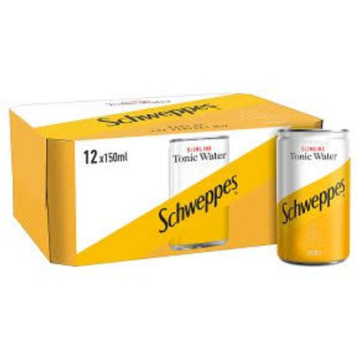 Schweppes Slimline Tonic Water 150ml can X12pack