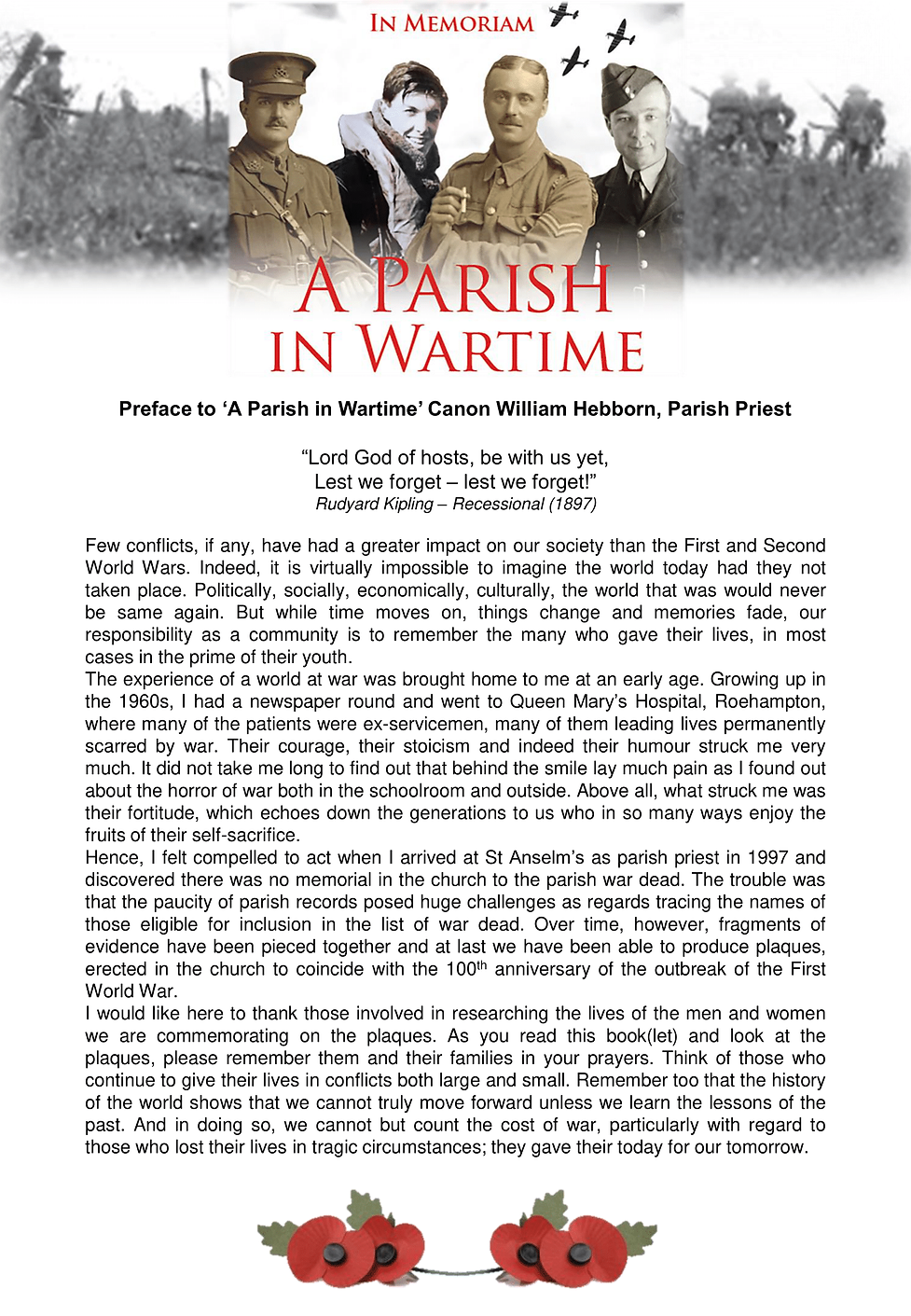 Preface to A Parish in Wartime Canon Wil