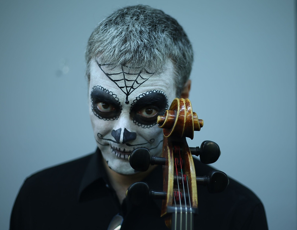 Man with Halloween face paint on