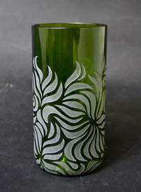 Cup made from old wine bottel and sandblasted