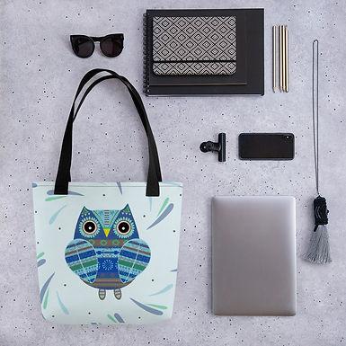 Tote bag blue owl handbag