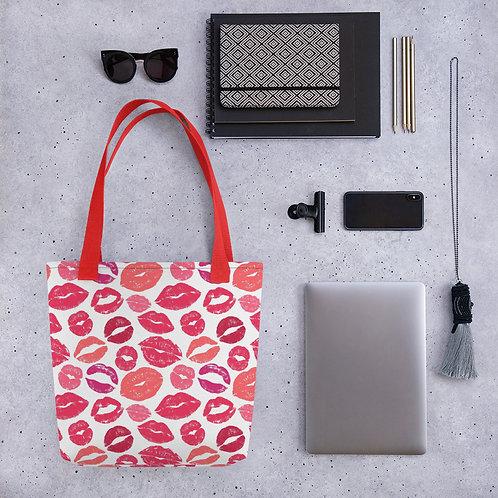 Tote bag pattern red lips kiss handbag