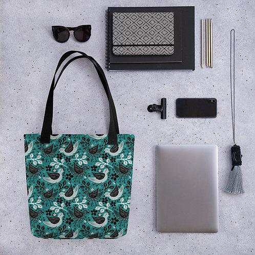 Tote bag bird black pattern shopping handbag