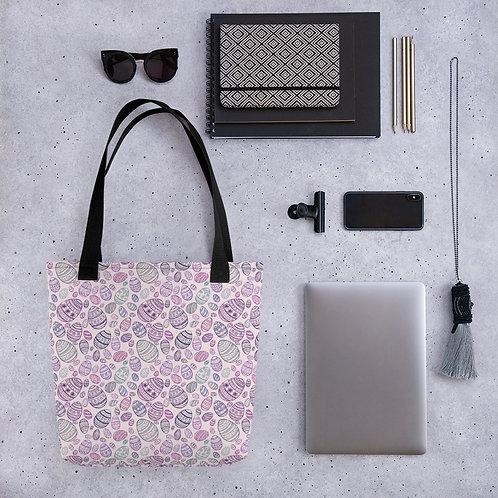 Tote bag pattern easter egg pink purple handbag