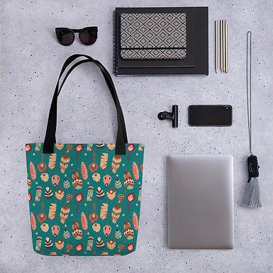 Tote bag feather pattern shopping handbag