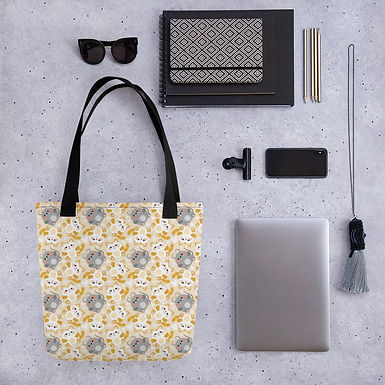 Tote bag cat and mouse pattern shopping handbag
