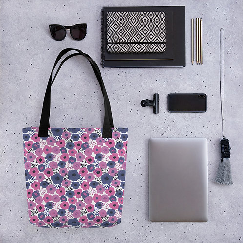 Tote bag poppy pattern shopping handbag