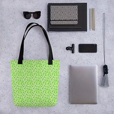 Tote bag green ribbon pattern shopping handbag