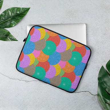 Laptop Sleeve 13in and 15in Multi Coloured Swirls