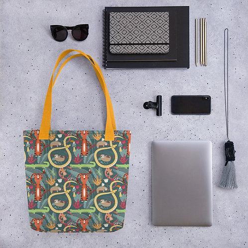 Tote bag jungle pattern shopping handbag
