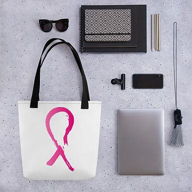 Tote bag pink ribbon pattern shopping handbag