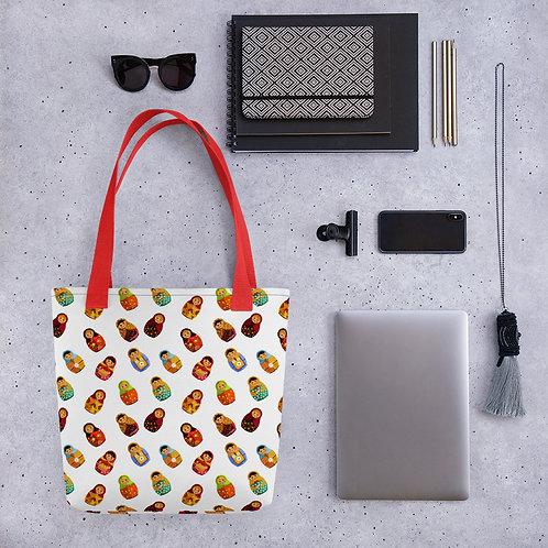 Tote bag russion doll pattern shopping handbag
