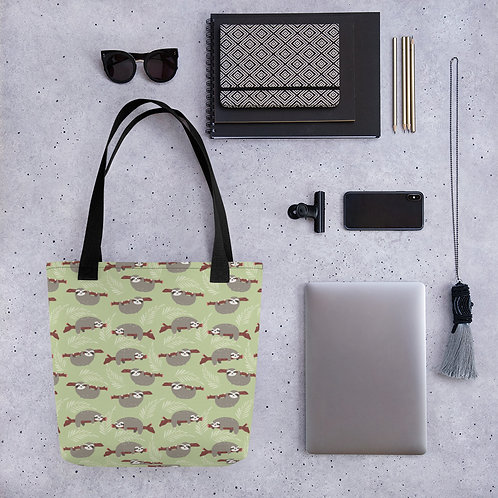 Tote bag brown sloth shopping handbag