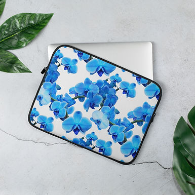 Laptop Sleeve 13in and 15in Flower Blue