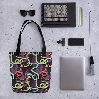 Tote bag snakes pattern shopping handbag