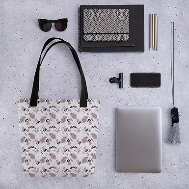 Tote bag purple rabbits shopping handbag
