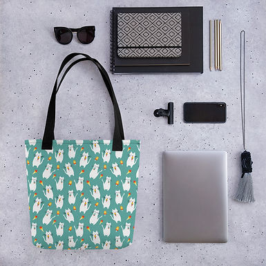 Tote bag lolly cat pattern shopping handbag