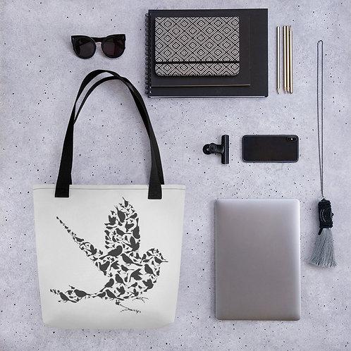 Tote bag black bird pattern shopping handbag