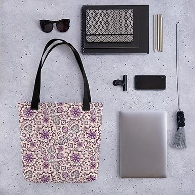 Tote bag purple leaf pattern shopping handbag