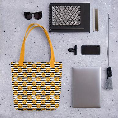 Tote bag pattern black stripe orange flower