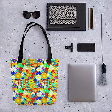 Tote bag acid flower pattern shopping handbag