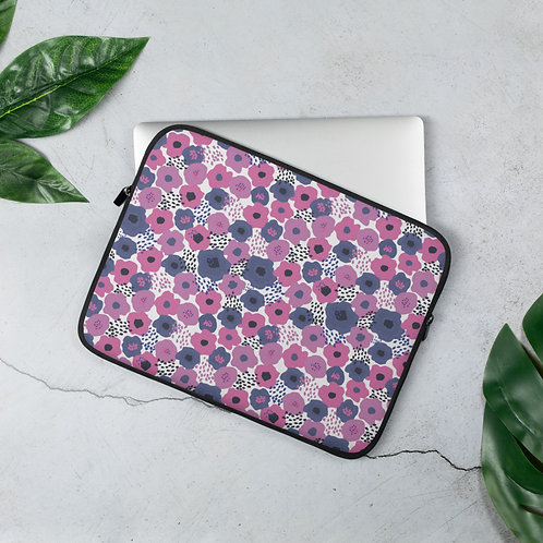 Laptop Sleeve 13 inch & 15 inch Purple Poppies