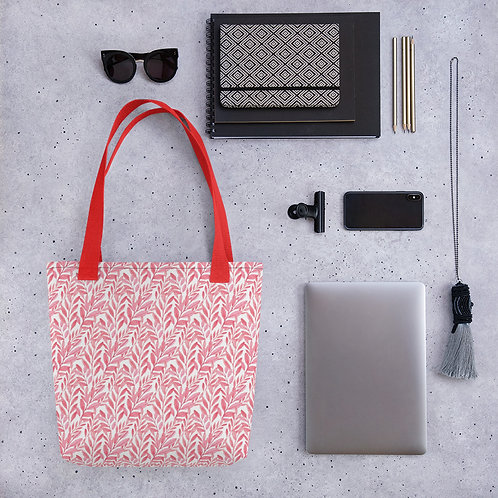 Tote bag pattern pink leaves flower