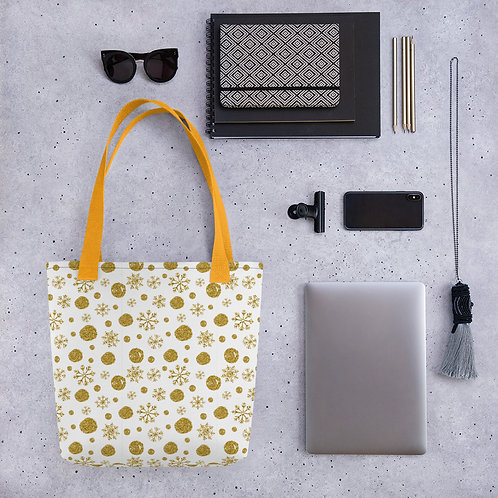 Tote bag gold glitter snowflake pattern shopping handbag