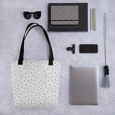Tote bag pink poppy shopping handbag