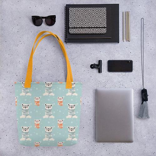 Tote bag polarbear pattern shopping handbag