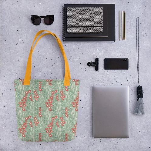 Tote bag orange flower on green pattern shopping handbag