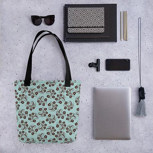 Tote bag red flower on blue 4 shopping handbag