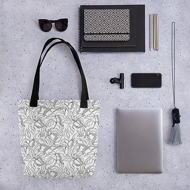 Tote bag black leaf pattern shopping handbag