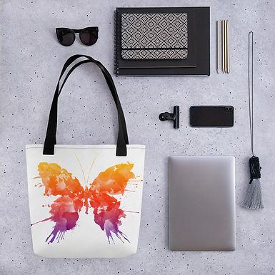 Tote bag ink butterfly pattern shopping handbag