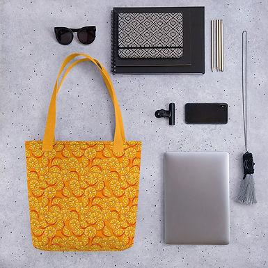 Tote bag pattern orange slices handbag
